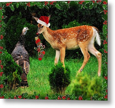 Christmas Wild Turkey And Fawn Metal Print by Angel Cher