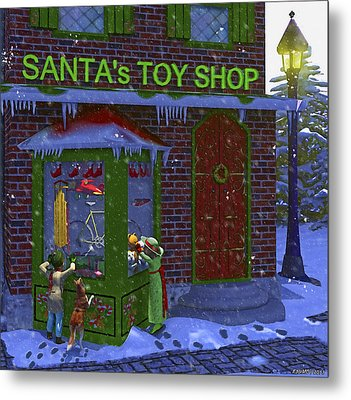 Christmas Window Shopping Metal Print