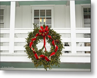 Metal Print featuring the photograph Christmas Wreath by Ann Murphy