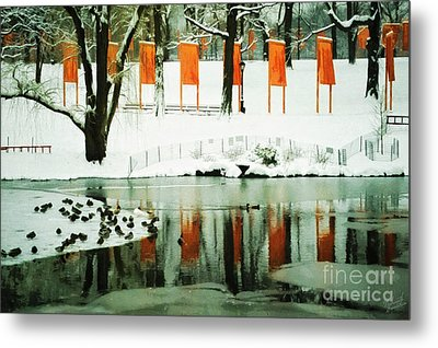Christo - The Gates - Project For Central Park Reflection In Wat Metal Print by Nishanth Gopinathan