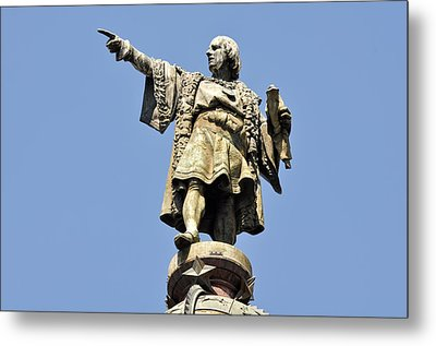 Christopher Columbus Day Statue Metal Print