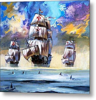 Christopher Columbus's Fleet  Metal Print