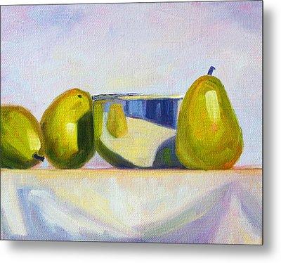 Chrome And Pears Metal Print by Nancy Merkle