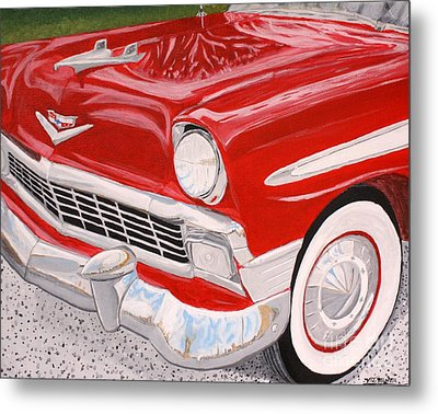 Chrome King 1956 Bel Air Metal Print by Vicki Maheu