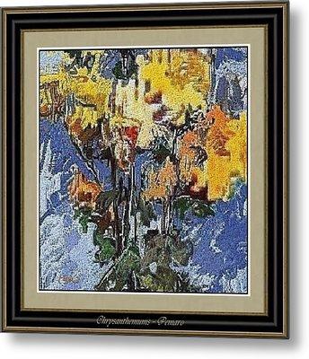Metal Print featuring the painting chrysanthemums C2 by Pemaro