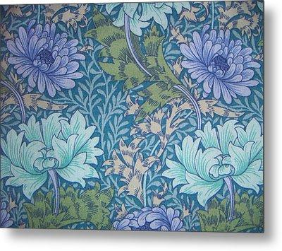Chrysanthemums In Blue Metal Print by William Morris