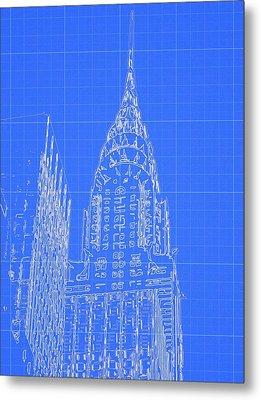 Chrysler Building Blueprint Sketch Metal Print