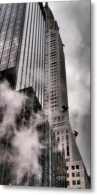 Chrysler Building With Gargoyles And Steam Metal Print by Miriam Danar