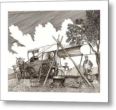 Chuckwagon Cattle Drive Breakfast Metal Print by Jack Pumphrey