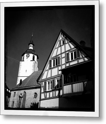 Church And Half-timbered House In Lovely Old Town Metal Print