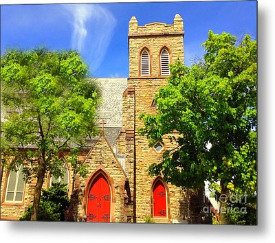 Metal Print featuring the photograph Church And Red Doors by Becky Lupe