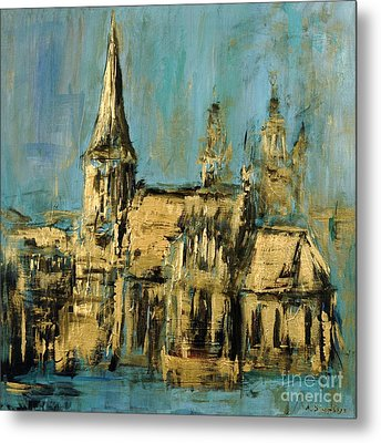 Metal Print featuring the painting Church by Arturas Slapsys
