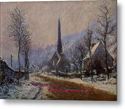 Church At Jeufosse Snowy Weather Restored Merry Christmas Metal Print by Claude Monet - L Brown