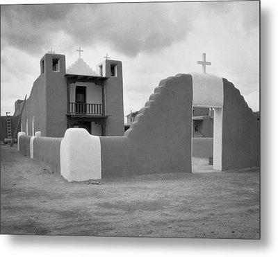 Church At Taos Pueblo Metal Print by David and Carol Kelly