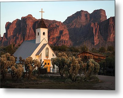 Church At The Superstition Mountains Arizona Metal Print