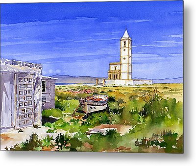 Church By The Salt Flats Metal Print by Margaret Merry