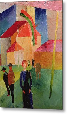 Church Decorated With Flags Metal Print by August Macke