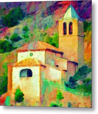 Church In Riglos Spain - Square Metal Print