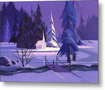 Church In Snow Metal Print