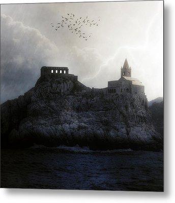 Church In Storm Metal Print by Joana Kruse