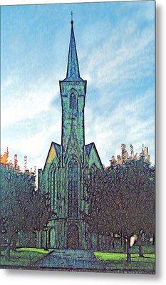 Church Steeple At Sunrise Metal Print