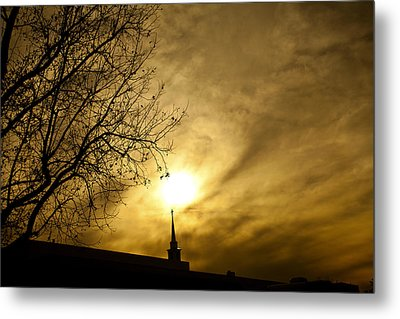Metal Print featuring the photograph Church Steeple Clouds Parting by Jerry Cowart