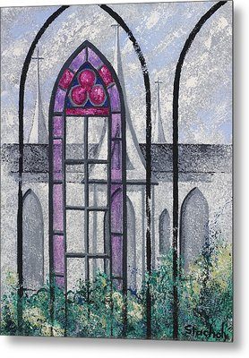Metal Print featuring the painting Church Window by Artists With Autism Inc