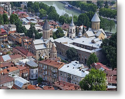 Churches By The Mtkvari River In Tbilisi Metal Print by Robert Preston