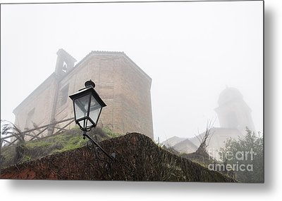 Churches In The Fog Metal Print