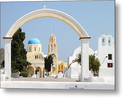 Churches Oia Santorini Greek Islands Metal Print by Carole-Anne Fooks
