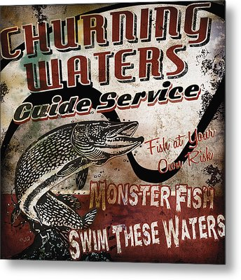 Churning Waters Sign Metal Print by JQ Licensing