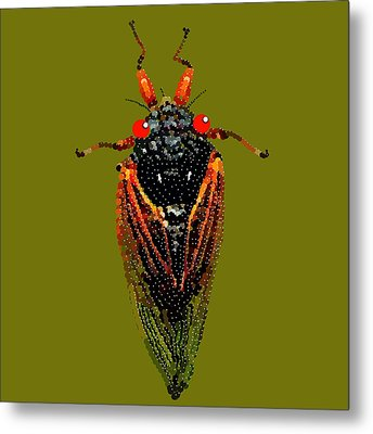 Cicada In Green Metal Print by R  Allen Swezey