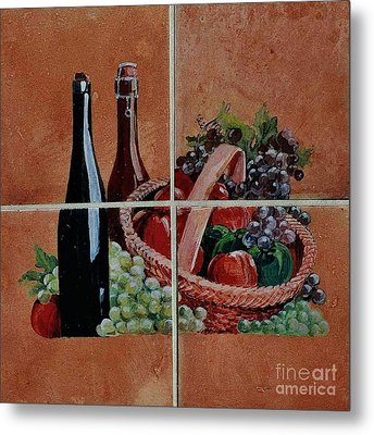 Cider And Apple Basket Metal Print by Andrew Drozdowicz