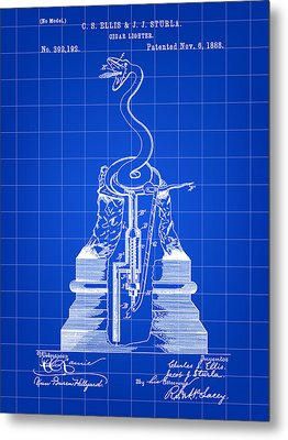 Cigar Lighter Patent 1888 - Blue Metal Print