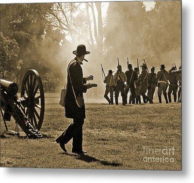 Metal Print featuring the photograph Cigar Man - U.s. Civil War Reenact by Cheryl Del Toro
