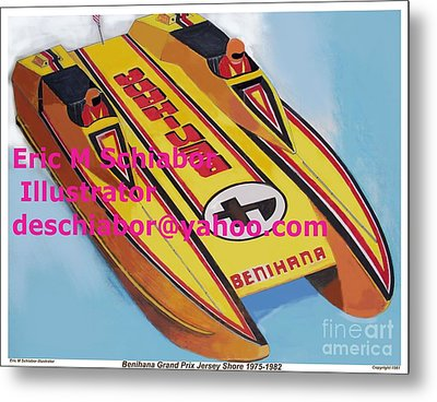 Cigarett Power Boat Illustration Metal Print by Eric  Schiabor