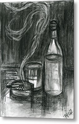 Cigarettes And Alcohol Metal Print by Roz Abellera Art