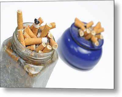 Cigarettes Butts In Jar And Ashtray Metal Print