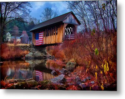 Cilleyville Covered Bridge Metal Print by Jeff Folger