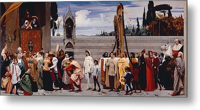 Cimabues Celebrated Madonna Is Carried In Procession Through The Streets Of Florence Metal Print by Frederic Leighton