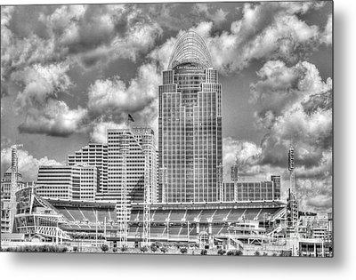 Cincinnati Ballpark Clouds Bw Metal Print by Mel Steinhauer
