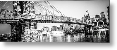 Cincinnati Bridge Retro Panorama Photo Metal Print by Paul Velgos