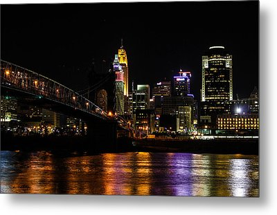 Metal Print featuring the photograph Cincinnati By Night by Cathy Donohoue