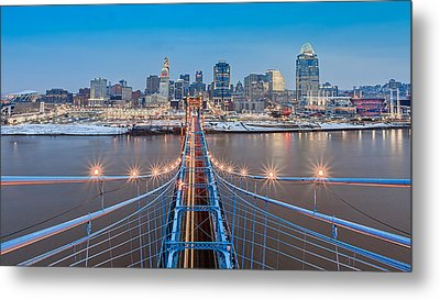 Cincinnati From On Top Of The Bridge Metal Print by Keith Allen
