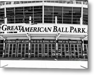 Cincinnati Great American Ball Park Black And White Picture Metal Print by Paul Velgos
