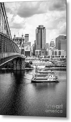 Cincinnati Riverfront Black And White Picture Metal Print by Paul Velgos