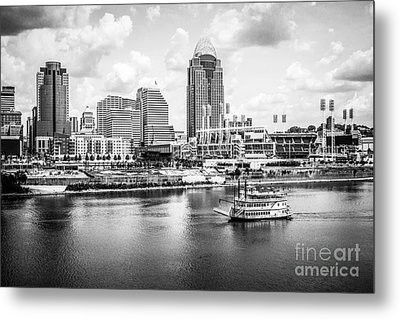Cincinnati Skyline And Riverboat Black And White Picture Metal Print by Paul Velgos