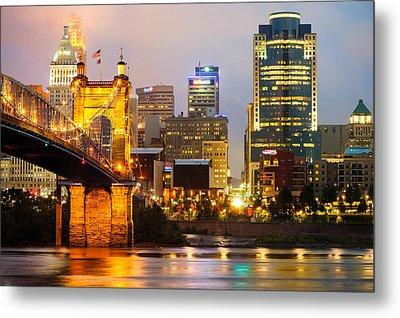 Cincinnati Skyline And The John A. Roebling Suspension Bridge Metal Print by Gregory Ballos