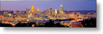 Cincinnati Skyline At Dusk Sunset Color Panorama Ohio Metal Print by Jon Holiday