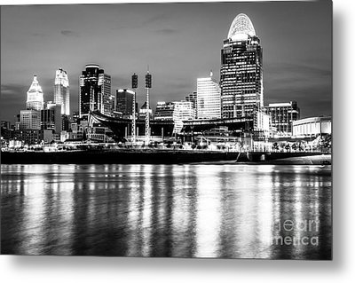 Cincinnati Skyline At Night Black And White Picture Metal Print by Paul Velgos